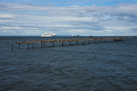 strait of magellan: Historic waterfront of Punta Arenas running along the Magellan Strait in Patagonia, Chile