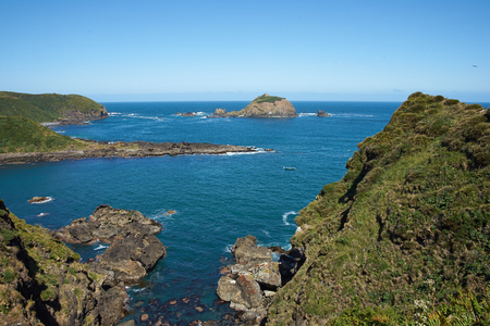 colonies: Pacific coast at Punihuil on the Island of Chilo? in Chile. Punihuil is home to colonies of Humboldt and Magellanic penguins that nest on offshore islands Stock Photo