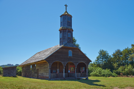 jesuit: Historic wooden church, Iglesia de Colo, built in the 17th century by Jesuit missionaries on the island of Chiloe in Chile.
