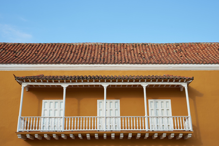 spanish style: Traditional Spanish style colonial building in the historic old city of Cartagena in Colombia.