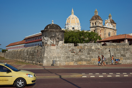 fortified wall: Cartagena, Colombia - January 26, 2015: Fortified wall built to defend the historic Spanish colonial city of Cartagena de Indias in Colombia