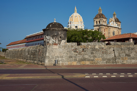 Fortified wall built to defend the historic Spanish colonial city of Cartagena de Indias in Colombia