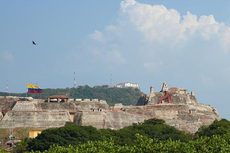 barajas: Historic castle of San Felipe De Barajas on a hill overlooking the Spanish colonial city of Cartagena de Indias in Colombia.