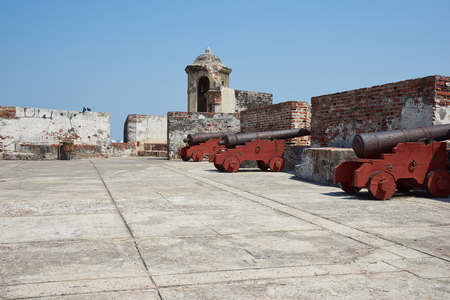 barajas: Historic castle of San Felipe De Barajas on a hill overlooking the Spanish colonial city of Cartagena de Indias on the coast of Colombia. Editorial