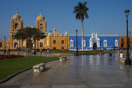 plaza de armas: Trujillo, Peru - September 2, 2014: Colourful colonial style buildings surrounding the Plaza de Armas in Trujillo, Peru.