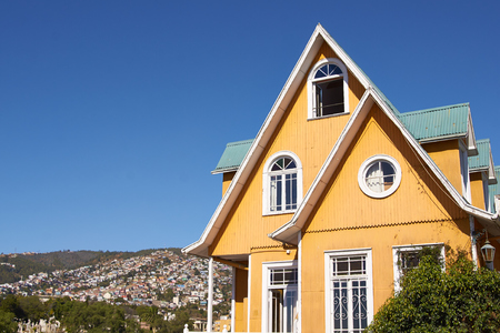 the world heritage: Colourful historic building on Paseo Atkinson in the UNESCO World Heritage Site of Valparaiso in Chile