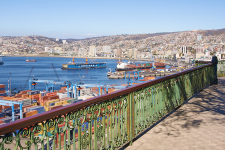 paseo: Valparaiso, Chile - April 16, 2015: Historic port of the UNESCO World Heritage city of Valparaiso on the coast of Chile. Viewed from Paseo 21 de Mayo.