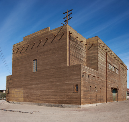 nitrate: Humberstone, Chile - July 1, 2015: Theatre in the living area of the Humberstone Saltpeter Works in the Atacama Desert near Iquique in Chile. The site is now an open air museum and a Unesco World Heritage SIte.