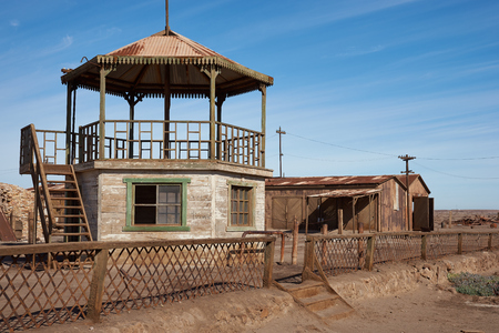 bandstand: Humberstone, Chile - July 1, 2015: Derelict and rusting bandstand at the historic Humberstone Saltpeter Works in the Atacama Desert near Iquique in Chile. The site is now an open air museum and a Unesco World Heritage SIte.