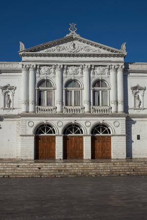 arturo: White classical style theatre in Plaza Arturo Prat in the old quarter of Iquique on the Pacific coast of northern Chile. Editorial
