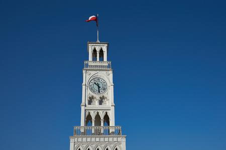 arturo: Historic clock tower in Plaza Arturo Prat in the old quarter of Iquique on the Pacific coast of northern Chile. Built circa 1877.