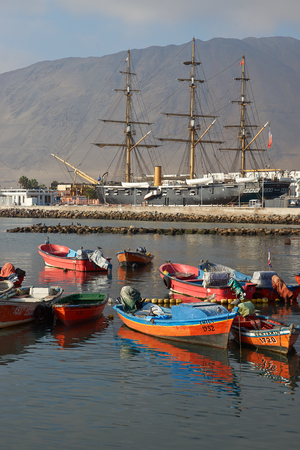 navy ship: IQUIQUE, CHILE - JULY 7, 2015: Replica of the Chilean Navy ship Esmeralda that was sunk at the Battle of Iquique in 1879 during the War of the Pacific between Chile and the combined forces of Peru and Bolivia.