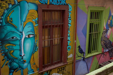 window graffiti: Valparaiso, Chile - September 4, 2015: Colourful street art decorating houses in the port city of Valparaiso in Chile. Editorial