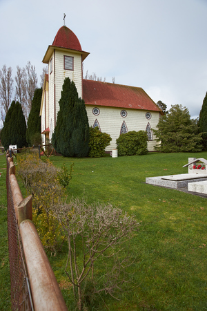 lake district: Historic church in farmland surrounding Lake Llanquihue in the Lake District of southern Chile.