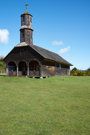 colo: Historic wooden church, Iglesia de Colo, built in the 17th century by Jesuit missionaries on the island of Chiloe in Chile.