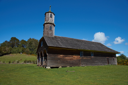 missionary: Historic wooden church, Iglesia de Colo, built in the 17th century by Jesuit missionaries on the island of Chiloe in Chile.