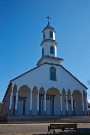 our lady of sorrows: Historic wooden Church of Our Lady of Sorrows in the small village of Dalcahue in Chiloe, Chile.