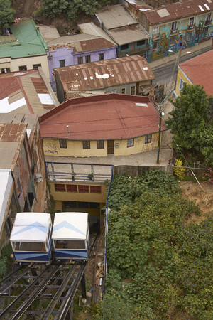 san agustin: VALPARAISO, CHILE - FEBRUARY 04, 2016: Historic funicular San Agustin in the UNESCO World Heritage port city of Valparaiso in Chile.