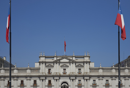 hosts: La Moneda Palace in Santiago, Capital of Chile. La Moneda hosts official offices of the President of Chile.