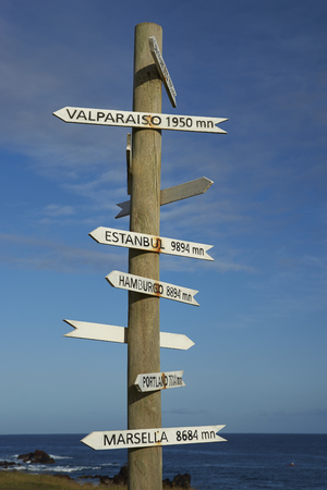sign post: Sign post on the coast of Easter Island showing the distance to various cities around the world. Stock Photo