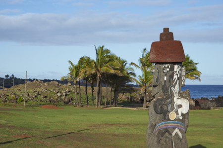 easter island: Ancient Moai statues on the coast of Rapa Nui (Easter Island)