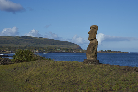 rapanui: Hanja Kio. Ancient Moai statue on the coast of Rapa Nui (Easter Island)