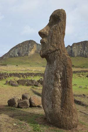 rapa nui: Ahu Tongariki. Moai estatua antigua en la costa de Rapa Nui (Isla de Pascua). En el fondo es Rano Raraku, desde donde se tallaron las estatuas.