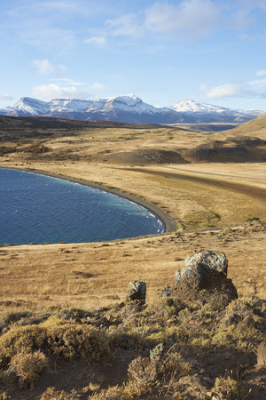 azul: Eastern end of Laguna Azul in Torres del Paine National Park, Magallanes, Chile Stock Photo