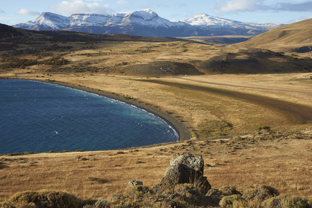 magallanes: Eastern end of Laguna Azul in Torres del Paine National Park, Magallanes, Chile Stock Photo