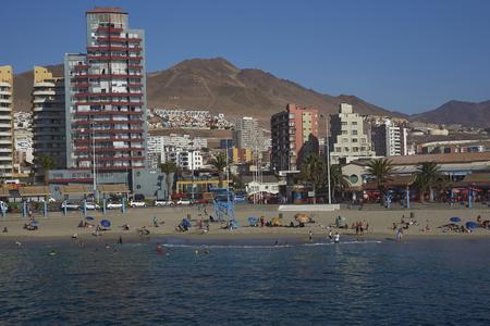 chilean: ANTOFAGASTA, CHILE - MAY 15, 2016: Sandy beach along the Pacific Ocean at Antofagasta in the Atacama Region of Chile Editorial