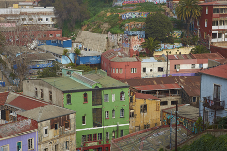 hillsides: VALPARAISO, CHILE - JULY 1, 2016: Colourful houses on the hillsides of    Valparaiso on the Pacific Coast of Chile.