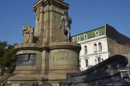 Monument to Lord Cochrane in Valparaiso, Chile. Lord Cochrane was an Admiral in the British Royal Navy before becoming head of the Chilean Navy during Chiles war of independence against Spain.