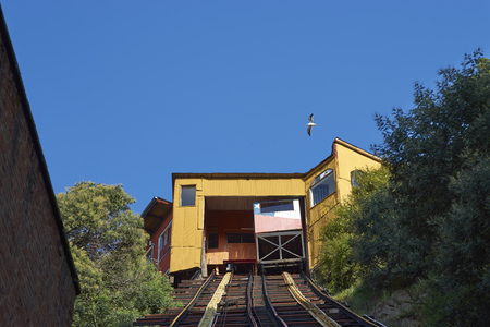 Historic funicular (Ascensor Concepcion), constructed around 1880, taking passengers up and down the steep hills of Valparaiso in Chile.