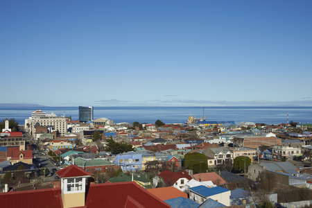punta arenas: Colourful rooftops of Punta Arenas in southern Chile overlooking the Strait of Magellan. Stock Photo