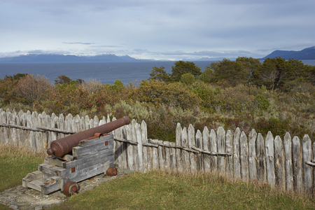 strait of magellan: Reconstructed fort of Fuerte Bulnes on the coast of the Magellan Strait in Patagonia, Chile. Originally founded in 1843.