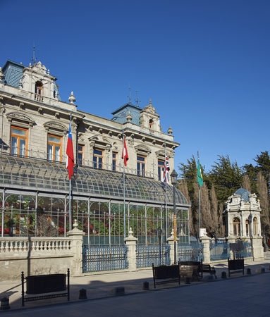 straits of magellan: Historic mansion in the centre of Punta Arenas in the Magallanes Region of Chile. Originally built for Jose Nogueira and Sara Braun, it is now a hotel.