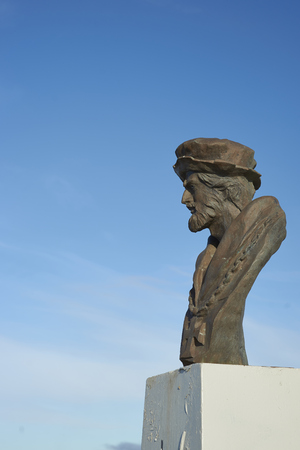 strait of magellan: Statue of Ferdinand Magellan over looking the Strait of Magellan in Punta Arenas, Chile. Magellan was the first European to navigate the strait in 1520.
