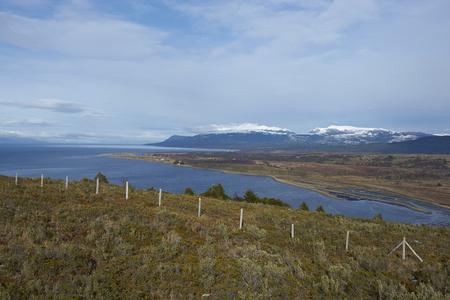 strait of magellan: Bahia de San Juan on the coast of the Magellan Strait viewed from Fuerte Bulnes in Patagonia, Chile. Stock Photo