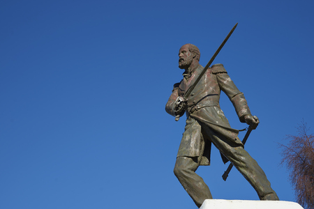 Statue of Arturo Prat in Punta Arenas, Chile. Prat is a Chilean Naval hero who was killed in 1879 during the War of the Pacific after being the first to board the Peruvian ironclad ship Huascar. Editorial
