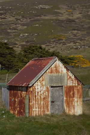 Farm buildings at Carcass Island Settlement in the Falkland Islands.
