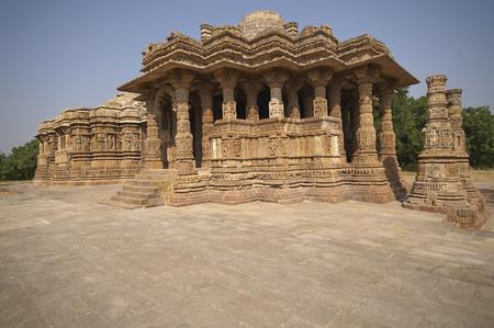Ornately carved stonework decorating the Sun Temple at Modhera. Ancient Hindu temple built circa 1027. Gujarat, India.