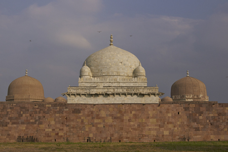 Ancient islamic tomb of Hoshang Shah in the hilltop fortress of Mandu in Madya Pradesh, India. White marble building. 15th Century AD Editorial