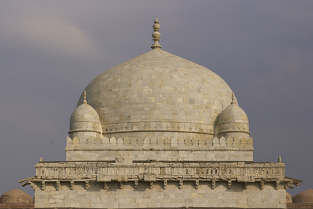 madhya: Ancient islamic tomb of Hoshang Shah in the hilltop fortress of Mandu in Madya Pradesh, India. White marble building. 15th Century AD Editorial