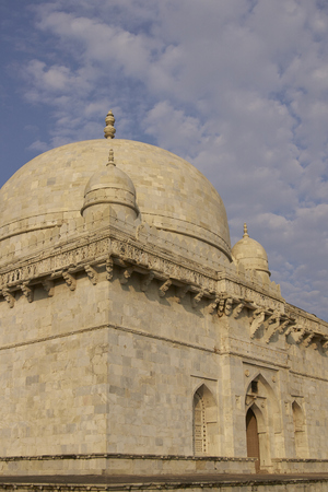 shah: Ancient islamic tomb of Hoshang Shah in the hilltop fortress of Mandu in Madya Pradesh, India. White marble building. 15th Century AD Editorial