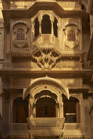Detail of ornate window screens adorning the Patwon Haveli, a historoc merchants house, in the old town of Jaisalmer in Rajasthan, India. Editorial