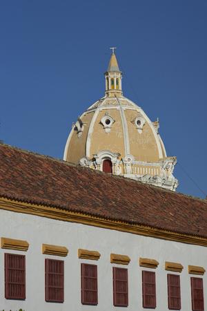 Dome of the historic Iglesia de San Pedro Claver in the Spanish colonial city of Cartagena in Colombia.