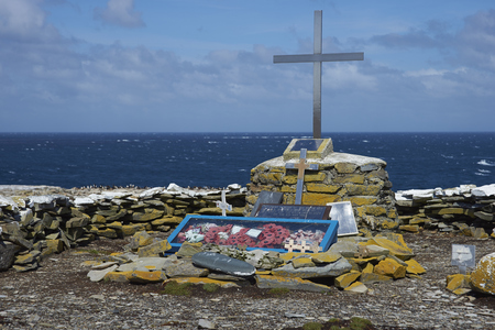 SEALION ISLAND, FALKLAND ISLANDS - JANUARY 10, 2017: Memorial to HMS Sheffield, a Type 42 destroyer, which sank off the coast of Sealion Island during the Falklands War in 1982.