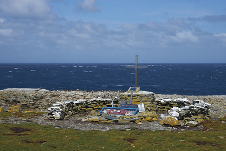 falklands war: SEALION ISLAND, FALKLAND ISLANDS - JANUARY 10, 2017: Memorial to HMS Sheffield, a Type 42 destroyer, which sank off the coast of Sealion Island during the Falklands War in 1982.