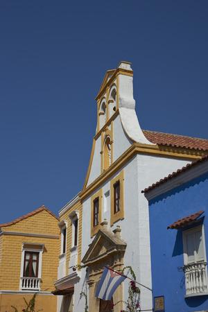 colonial church: Spanish colonial style church, Iglesia de Santo Toribio, in the historic quarter of Cartagena de Indias in Colombia.