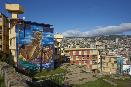 VALPARAISO, CHILE - July 14, 2017: View across the City of Valparaiso in Chile from the Baron area of the city. Editorial